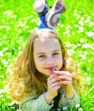 Концепция чувствительности Девушка на усмехаясь стороне держит цветок маргаритки, ароматность вдохов Ребенок наслаждается погодой Стоковые Фото