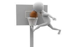 концепция шарика корзины человека 3d Стоковое Изображение