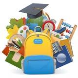 Концепция школы вектора с рюкзаком Стоковые Изображения