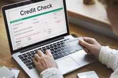 Концепция экономики банка проверки кредитоспособности финансовая Стоковые Фотографии RF