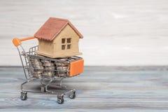 Концепция Эко-домов в магазинной тележкае вполне монеток на текстуре предпосылки естественной древесины Стоковые Изображения RF