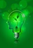 Концепция экологичности спасения электрической лампочки человеческой головы Стоковое Изображение