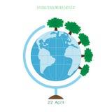 Концепция экологичности с глобусом и деревьями Стоковое Фото