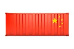 Концепция экспорта Китая Контейнер для перевозок с флагом Китая 3d ren иллюстрация штока