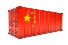 Концепция экспорта Китая Контейнер для перевозок с флагом Китая 3d ren иллюстрация вектора
