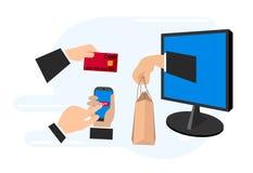 Концепция электронной коммерции, методы онлайн-платежа, онлайн-платежи иллюстрация вектора