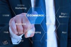 Концепция электронной коммерции при мужской предприниматель выбирая виртуальное inte стоковое изображение