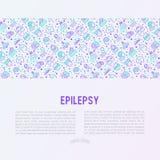 Концепция эпилепсии с тонкой линией значками иллюстрация вектора