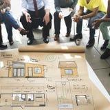 Концепция эскиза светокопии Floorplan плана дома Стоковое фото RF