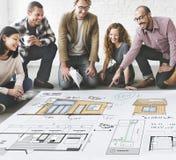Концепция эскиза светокопии Floorplan плана дома Стоковые Фото