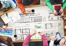 Концепция эскиза строительного проекта архитектора светокопии Стоковая Фотография