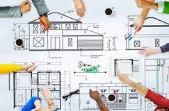 Концепция эскиза строительного проекта архитектора светокопии Стоковое Изображение RF