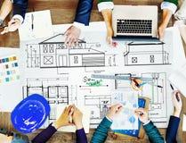 Концепция эскиза строительного проекта архитектора светокопии Стоковая Фотография RF