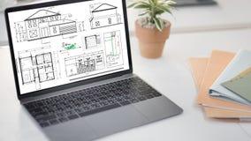 Концепция эскиза строительного проекта архитектора светокопии Стоковые Изображения RF