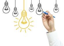 Концепция электрической лампочки чертежа бизнесмена стоковое фото