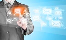 Концепция электронной почты бизнесмена Стоковая Фотография
