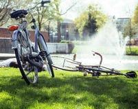 Концепция людей образа жизни: пары велосипеда на зеленой траве в лете паркуют на фонтане Стоковое Фото