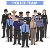 Концепция людей полиции Детальная иллюстрация офицера, полицейския, женщина-полицейского и шерифа СВАТ в плоском стиле на белизне Стоковое Изображение RF