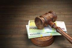 Концепция для закона, коррупции, банкротства, поруки, злодеяния, очковтирательства, Auc Стоковое Фото