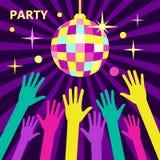 Концепция для партий и музыкальных фестивалей Сияющий шарик диско, больной Стоковые Фотографии RF