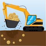 Концепция bitcoins минирования с backhoe Бесплатная Иллюстрация