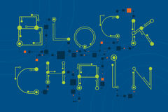 Концепция Blockchain с стилем цифровых и электроники шрифта Стоковые Изображения RF