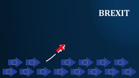 Концепция Brexit Иллюстрация Brexit с флагами ЕС и Великобритании иллюстрация штока