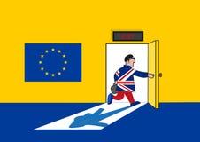 Концепция Brexit Человек в великобританском костюме идет вне от комнаты Европейского союза Editable искусство зажима бесплатная иллюстрация