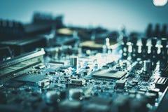 Концепция c технологии ПК материнской платы компьютерного оборудования электрического счетнорешающего устройства стоковые изображения rf