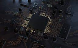 Концепция C.P.U. процессоров центрального компьютера иллюстрация вектора