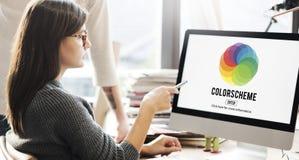 Концепция Colorscheme таблиц расцветки творческих способностей цвета Стоковые Фотографии RF