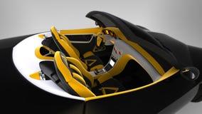 Концепция coupe автомобиля спорт автомобиль с откидным верхом Исключительный и стилизованный настраивать электрических автомобиле Иллюстрация штока