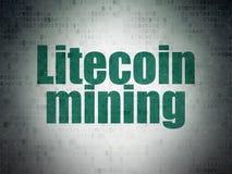 Концепция Cryptocurrency: Минирование Litecoin на предпосылке бумаги цифровых данных