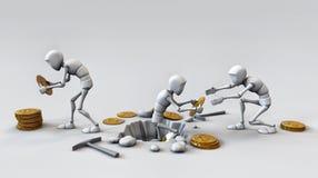 Концепция Cryptocurrency с горнорабочей и монетками Работа в bitcoin иллюстрация штока