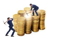 Концепция cryptocurrency с деньгами минирования бизнесмена Стоковая Фотография