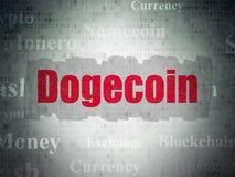 Концепция Cryptocurrency: Dogecoin на предпосылке бумаги цифровых данных