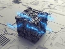 Концепция 3D cryptocurrency Blockchain виртуальная Стоковые Изображения RF