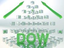 Концепция 3D Dow Jones поднимая стоковое фото