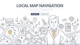 Концепция Doodle навигации карты Стоковое Изображение
