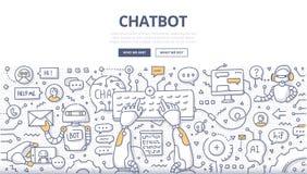Концепция Doodle Chatbot иллюстрация вектора