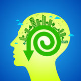 Концепция Eco дружелюбная в человеческой голове Стоковые Фотографии RF