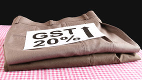 Концепция GST для готовых одежд стоковое изображение