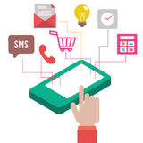 Концепция Infographic с мобильным телефоном бесплатная иллюстрация