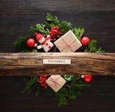 Концепция Noel или рождества деревенская стоковое изображение rf