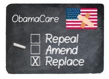 Концепция Obamacare используя мел на классн классном шифера иллюстрация вектора