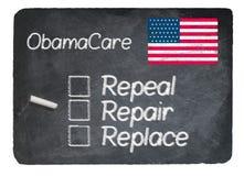 Концепция Obamacare используя мел на классн классном шифера стоковые изображения rf