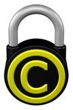 Концепция: padlock с авторским правом знака перевод 3d иллюстрация вектора