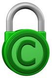 Концепция: padlock с авторским правом знака перевод 3d иллюстрация штока