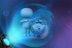 концепция piggybank человека 3d Стоковая Фотография RF