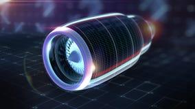 Концепция Sci fi теста визуализирования отростчатого аэродинамики авиационного двигателя иллюстрация штока